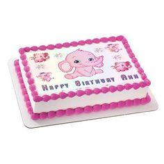 Pink Elephant Edible Birthday Cake Topper OR Cupcake Topper, Decor