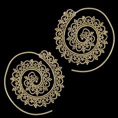 Brass Earrings Brass Spiral Earrings Gypsy Earrings por RONIBIZA