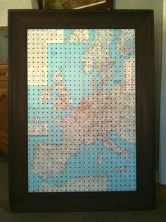 art deco paper transferred/glued to pegboard