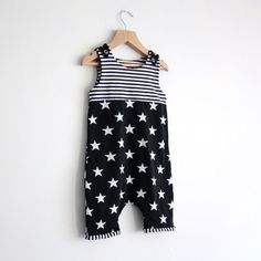 Let the good times roll!. Made out of gorgeous soft jersey with cool black&white stars and stripes, these are perfect for romping around in style this summer. They are designed to be loose fitting with a harem style crotch (making them cloth nappy/diaper compatible!) and as your little