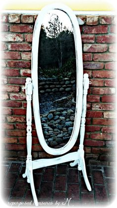 Distressed Vintage shabby chic standing mirror, french country, country cottage, white standing mirror! Solid wood! Rustic! Handpainted