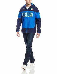 PUMA Men's FIGC Italia Rain Jacket, Peacoat, Small PUMA http://www