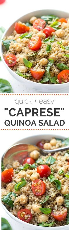 """Caprese"" Quinoa Salad with fresh cherry tomatoes, basil, chickpeas and a balsamic vinaigrette. Quinoa Salad Recipes, Chickpea Recipes, Vegetarian Recipes, Cooking Recipes, Healthy Recipes, Quinoa Chickpea Salad, Quinoa Recipes Easy, Bulgur Salad, Couscous Salad"
