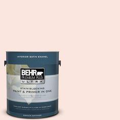 BEHR Premium Plus Ultra 1-gal. #220C-1 White Peach Satin Enamel Interior Paint