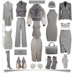 Fashionista - 50 Shades of Grey by adswil on Polyvore featuring polyvore fashion style H&M Marc Jacobs Temperley London Balmain Haider Ackermann ADAM Topshop Gianvito Rossi Giuseppe Zanotti Alexander Wang Hermès Rolex Christian Dior STELLA McCARTNEY fashionista grey sophistication StreetChic