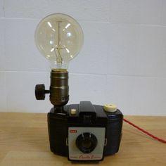 Vintage retro kodak cresta camera. Desk Lamp with Edison bulb upcycled