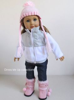 Love!  Doll Clothes White/Gray Jacket + Blue Jean +Pink Hat + Pink Boots fit American Girl Doll 279B