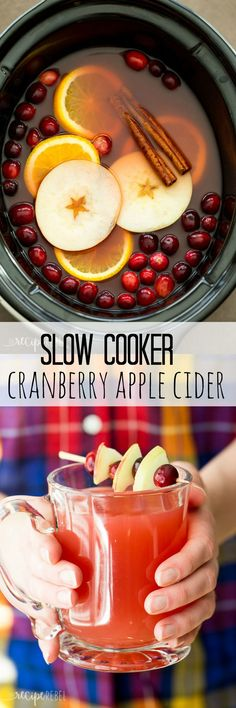 The perfect holiday drink, this Slow Cooker Cranberry Apple Cider is made with apple, cranberry and orange juices! Perfect for your Thanksgiving or Christmas party. christmas food and drink Crock Pot Recipes, Fall Recipes, Slow Cooker Recipes, Holiday Recipes, Cooking Recipes, Party Recipes, Punch Recipes, Apple Recipes, Fall Crockpot Recipes