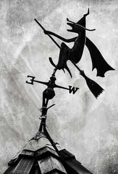 Witch on Broomstick Weathervane, Halloween Decor, Black