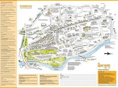One side of the illustrated #Map of Thimphu, #Bhutan, created in partnership between myself and a Bhutanese artist. http://www.greentea.tk/2011/10/thimphu-map-is-published-at-last.html Hey @Sara Drake  have you seen this one?