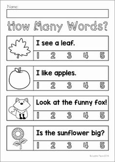 Autumn / Fall Preschool No Prep Worksheets & Activities. How many words?