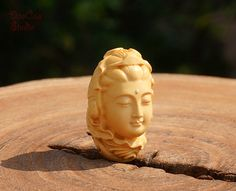 Natural Wood Bead  1pcs Boxwood Bead Carved by DaoCaoStudio