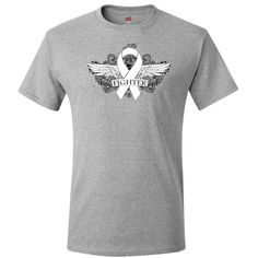 Show you fight strong with Bone Cancer Fighter Wings T-Shirt featuring a cool grunge tattoo style wings on a scroll backdrop with an awareness ribbon brought #BoneCancer #BoneCancerAwareness #BoneCancerFighter