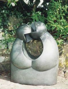 Bronze Abstract Garden sculpture by artist Veale Anthony titled: 'Anatomical Kiss (Minimilist Abstract Bronze)' £6900 #sculpture #art
