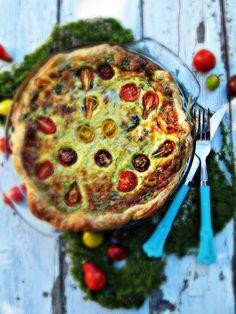 Swiss Chard & Heirloom Tomato Tart from Sweetsugarbean