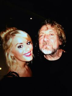 Robert Plant with Tiffany Grant---granddaughter of LZ manager Peter Grant. Photo taken Feb. 26, 2014 in West Glendale, Ca. (Suburb of Los Angeles)