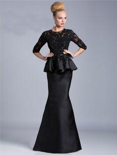 Trompett/Sirène Col U Profond La Moitié Des Manches Perle Floor-length Mousseline Polyester Dresses
