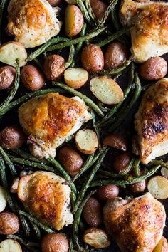 This sheet pan chicken and potato dinner with green beans is ready in under an hour and devoured in just minutes. You'll love how easy this dinner is to throw together and it will be sure to impress even the pickiest of eaters!