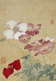 Yun Shouping. Poppies. Album leaf.  #ChineseArt