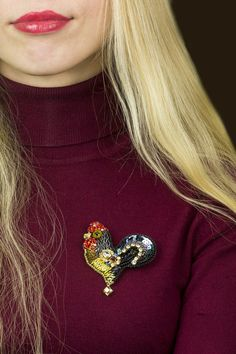 Brooches – Rooster – a unique product by Nataly-Makina on DaWanda