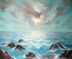 (c) Seascape Paintings, Oil Paintings, Rocky Shore, Oil On Canvas, Waves, Ocean, Clouds, Sky, Beach