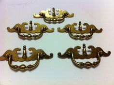 "Vintage brass drawer pulls. LOT OF 5 PCS,  Handle is in a fixed position, 2-1/2 "" on center. by FREEMANHARDWARE on Etsy https://www.etsy.com/listing/231639440/vintage-brass-drawer-pulls-lot-of-5-pcs"