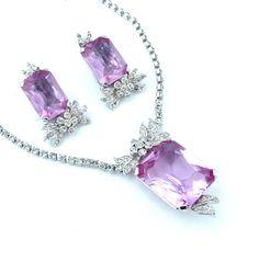 Designer KRAMER Rhinestone Necklace Earrings Pale by kiamichi7