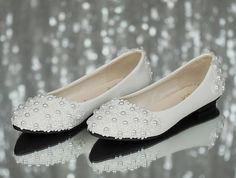 Lace Wedding Shoes Pearl White Lace Daisy Bridal Shoes by wzan