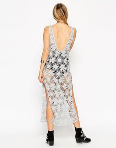 Image 2 ofASOS Premium Hand Crochet Midi Dress In Metallic