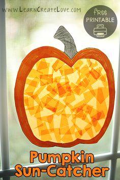 Printable Pumpkin Sun-Catcher Craft