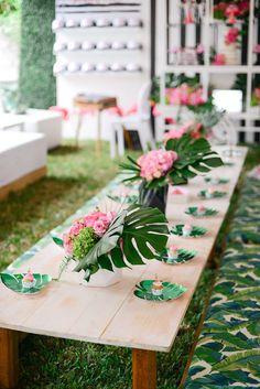 Guest table from a Modern Flamingo Birthday Party on Kara's Party Ideas   KarasPartyIdeas.com (31)