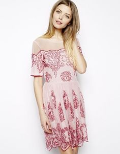 Enlarge ASOS Skater Dress With All Over Beading -- Bridesmaid