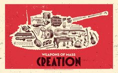 Justin Kamerer aka Angryblue re-released two of his great Weapons of Mass Creation prints with cooking and art themes and added a new one: Music. The three screenprints have editions of 150 and will sell out pretty quick so head over to his shop.