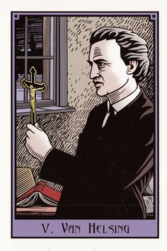V. Van Helsing (The Hierophant) - The Vampire Tarot by Robert M. Place