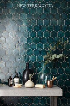 #newterracotta #hexagonaltiles #glazedtiles #handmade #mysteryteal Chic Bathrooms, Amazing Bathrooms, Hexagon Wall Tiles, Teal Tiles, Fancy, Pose Parquet, Style Deco, Black Decor, Handmade Home Decor