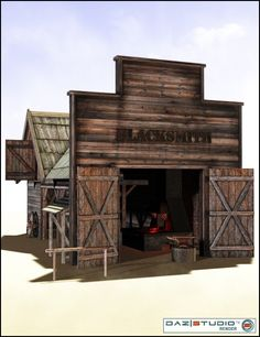 Old Forge is a historical, script/utility, western, cityscape/building for Daz Studio or Poser created by DAZ Originals and Karanta. Western Saloon, Western Theme, Western Decor, Old West Town, Old Town, Play Houses, Bird Houses, Old Western Towns, Figurine Warhammer