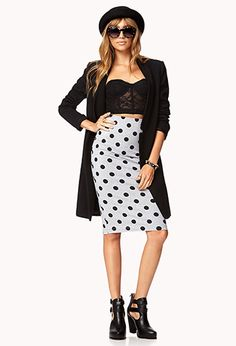 Retro Polka Dot Midi Skirt | FOREVER 21 - 2040891546
