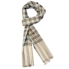 Medium Brown Checks on White Base. This stole has natural colors of brown and white, check being medium in size. It goes well with all color families but specifically with reds, blues and browns. It is pure pashmina and is, thus, quite warm.  http://www.indiancraftsmen.com/accessories/stoles/medium-brown-checks-stole-on-white-base-mpcs0101