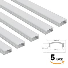 5 PACK 3.3ft U-Shape Aluminum Channel - LED Aluminum Extrusion for Recessed/Suface Mounted with flex/hard LED Strip Light w/Oyster White cover-U07