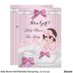 Baby Shower Girl Pink Baby Teacup Cupcake 4b Card