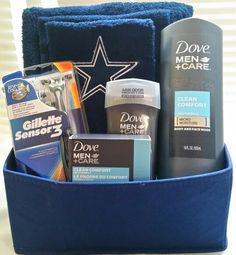 boyfriend gift basket Last Minute DIY Fathers Day Gifts to Make Dallas Cowboys towel set and Dove Men Diy Father's Day Gifts To Make, Diy Gifts For Him, Diy For Men, Father's Day Diy, Men Gifts, Present Ideas For Men, Valentine's Day Gift Baskets, Themed Gift Baskets, Birthday Gift Baskets