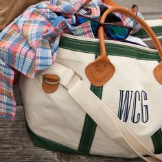 The GREEN paired with the NAVY and that leather!!   Personalized Totes available at Farmbasket.
