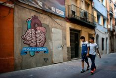 """Think"" in Zaragoza by the Spanish street art collective Boa Mistura. 2012."