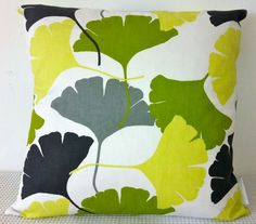 Ginkgo leaf motif retro green, yellow, white, grey and black cushion Cover, contemporary designer fabric slip cover, throw pillow -drooling.........