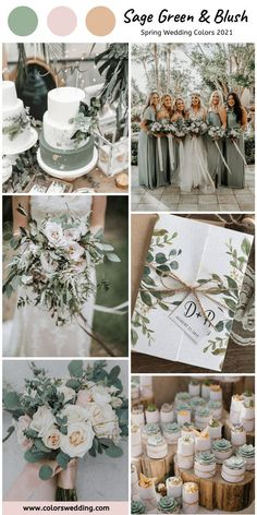 Sage Green + Blush Wedding: wedding cakes, bride's bouquet, small gifts, invitation and sage bridesmaid dresses. themes fall september Top 8 Spring Wedding Color Combos for 2021 Spring Wedding Colors, Wedding Colors Green, September Weddings, September Wedding Colors, Spring Weddings, Green Theme Weddings, Wedding Ideas Green, Wedding Theme Ideas Unique, Spring Wedding Dresses