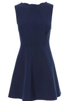 Navy Sleeveless Back Hollow Bow Dress - Sheinside.com