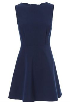 Navy Sleeveless Back Hollow Bow Dress - Sheinside.com