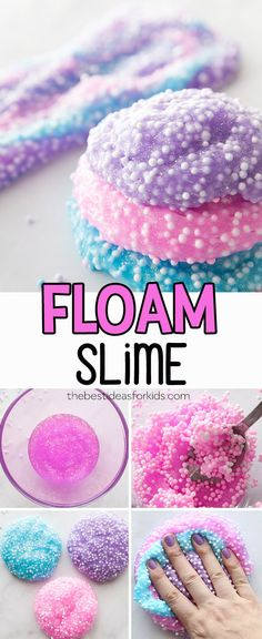 This floam slime recipe is so fun to make! Make homemade floam which feels like crunchy slime. This floam slime diy is easy to make and kids will love it! via slime recipe with contact solution Floam Slime - The Best Ideas for Kids Masa Slime, Le Slime, Slime Lab, Slimy Slime, Diy Crafts For Kids, Fun Crafts, Kids Diy, Simple Crafts, Craft Ideas