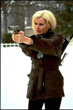 Geena Davis as Samantha Caine in The Long Kiss Goodnight. A women with it all. Wife, mum and assassin.