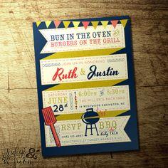 Retro Couples BBQ baby shower invitation,gender neutral, PDF digital printable file on Etsy, $15.00